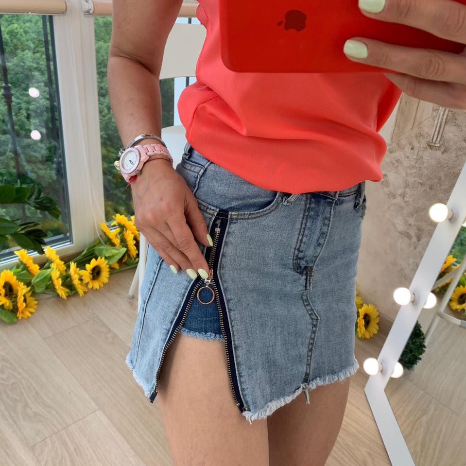 Джинсовые женские юбка-шорты с молнией
