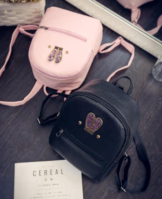 Маленький детский рюкзак с ушками Розовый Искусственная кожа, Для девочек, Малый, Новое, Черный
