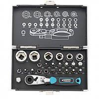 Набор бит и головок торцевых, 1/4, магнитный адаптер, сталь S2 пластиковый кейс, 26 предметов Gross 11361
