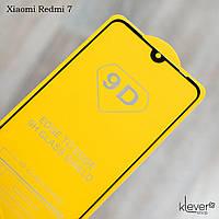 Защитное стекло Full Glue для Xiaomi Redmi 7 (black) (клеится всей поверхностью)