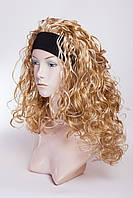 Искусственный парик на повязке №4, цвет мелирование пшеничный с белым