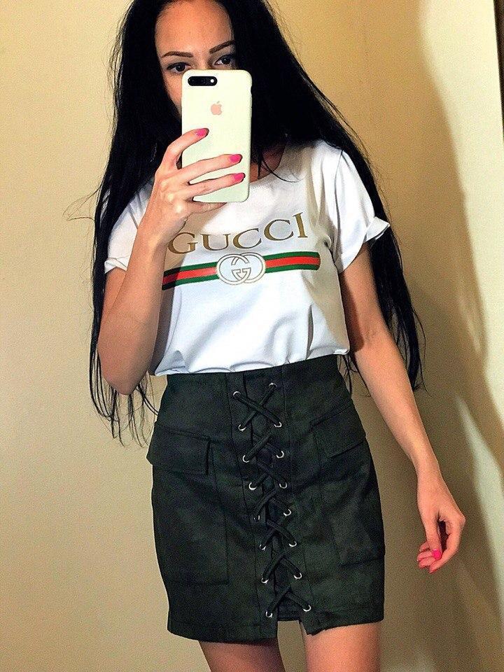 Стильная женская футболка с красивой надписью спереди, реплика Гуччи