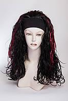 Искусственный парик на повязке №4, цвет мелирование черный с красным