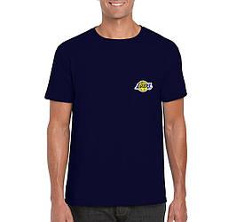 Мужская футболка Lakers, мужская футболка Лейкерс, спортивная, брендовая, хлопок, синяя, копия