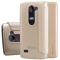 Кожаный чехол книжка Nillkin Sparkle для LG Leon Y50 H324 золотистый