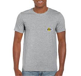 Мужская футболка Lakers, мужская футболка Лейкерс, спортивная, брендовая, хлопок, серая, копия