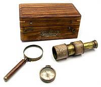 Подарочный морской набор (телескоп,лупа,компас) в футляре (16,5х9,5х7,5 см)