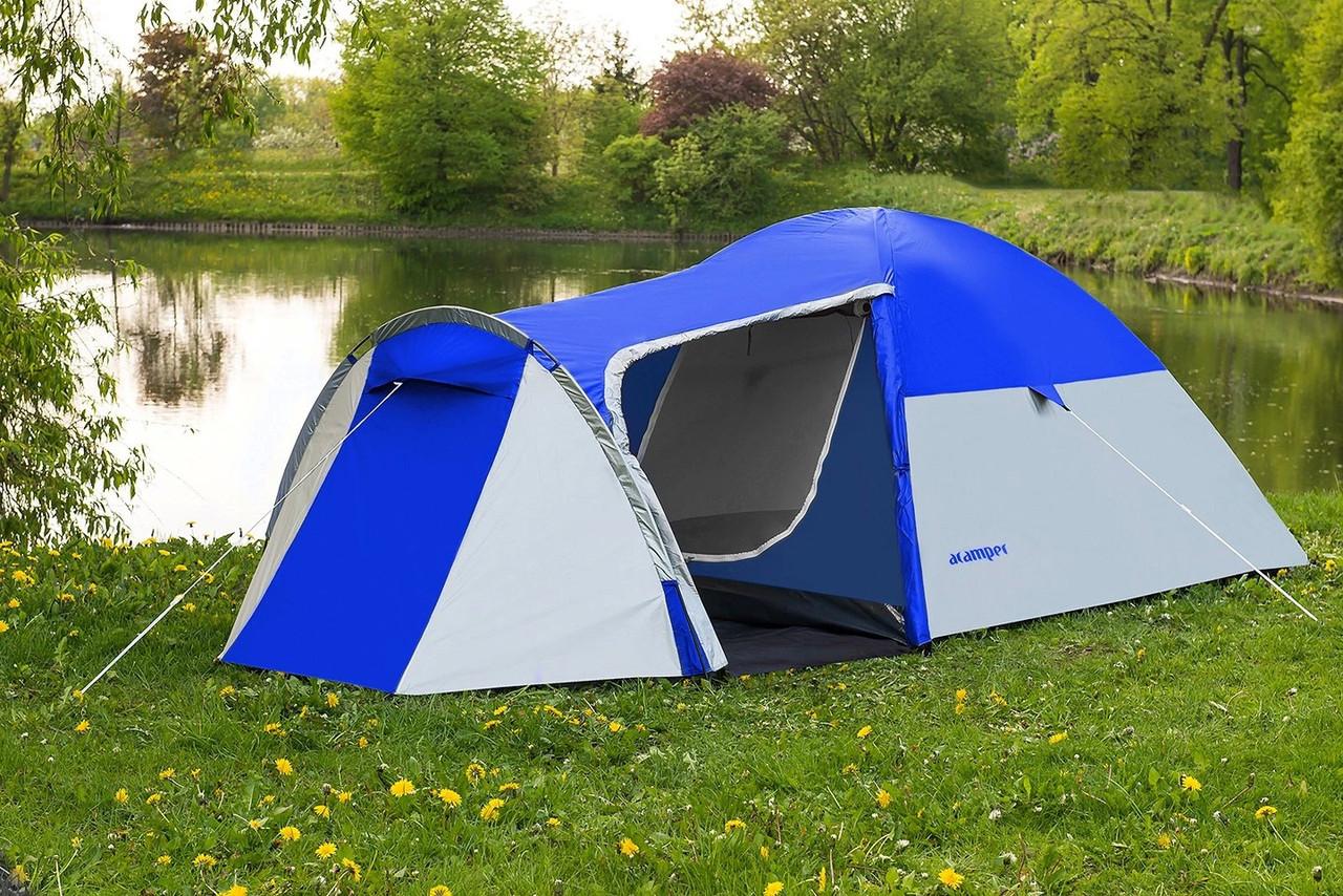 Туристическая палатка 4-х местная Monsun Pro 4, клеенные швы, синяя