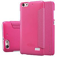 Кожаный чехол книжка Nillkin Sparkle для Huawei Honor 4C розовый