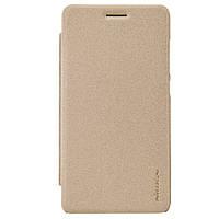 Кожаный чехол книжка Nillkin Sparkle для Huawei Honor 4C золотистый