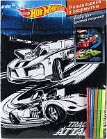 Раскраска с бархатом A3 +5 фломастеров KITE 2014 Hot Wheels 156