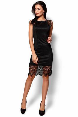 Черное облегающее платье с гипюром