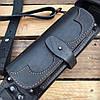 Патронташ поясной закрытый на 39 патр., двухрядный с кож. лямками. Черный (кожа), фото 3