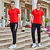 Мужской летний спортивный костюм: штаны и футболка с воротничком, реплика Найк, фото 2
