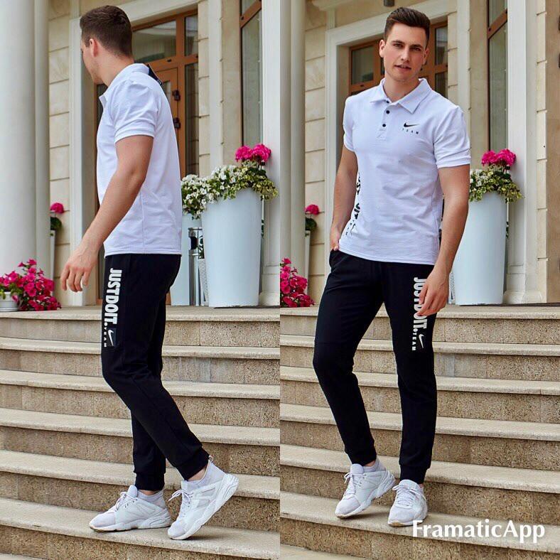 Мужской летний спортивный костюм: штаны и футболка с воротничком, реплика Найк