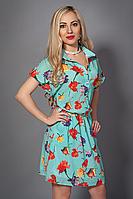 Яркое летнее платье рубашка в цветы из креп шифона