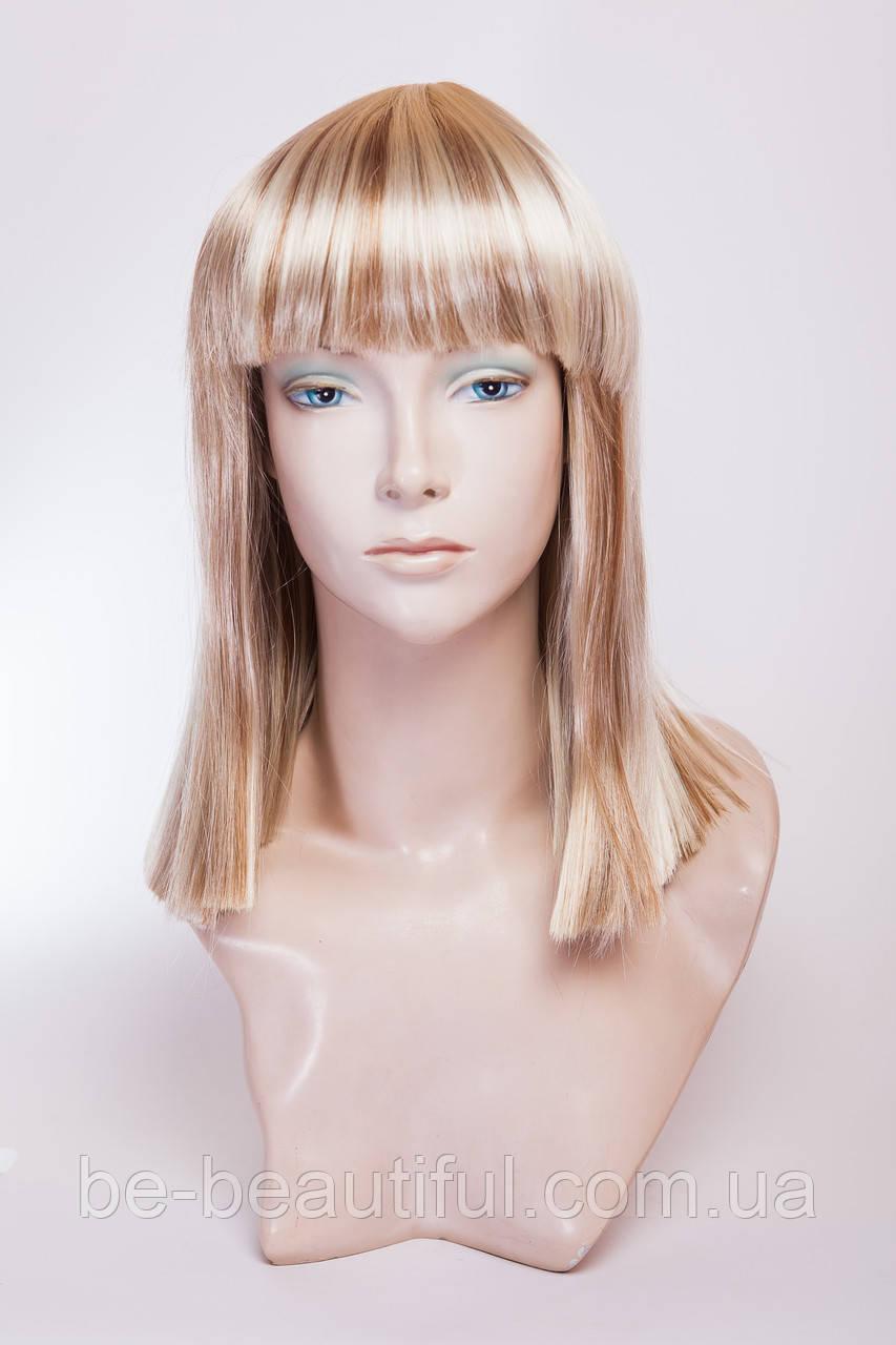 Длинный ровный парик №12,цвет мелирование золотистый с блондом