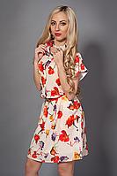 Очаровательное летнее платье рубашка в цветы материал шифон