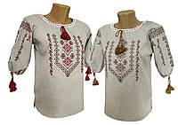 Жіноча вишиванка хрестиком з рукавом 3/4 у класичному стилі