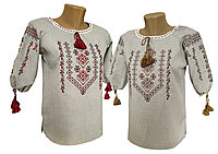 Женская вышитая блуза из льна в крупных размерах