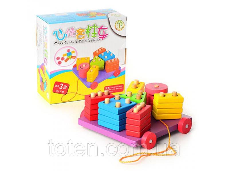 Деревянная игрушка Геометрика Woody MD 0665,  каталка