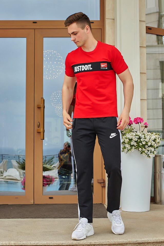 Мужской летний спортивный костюм: штаны и футболка, реплика Найк
