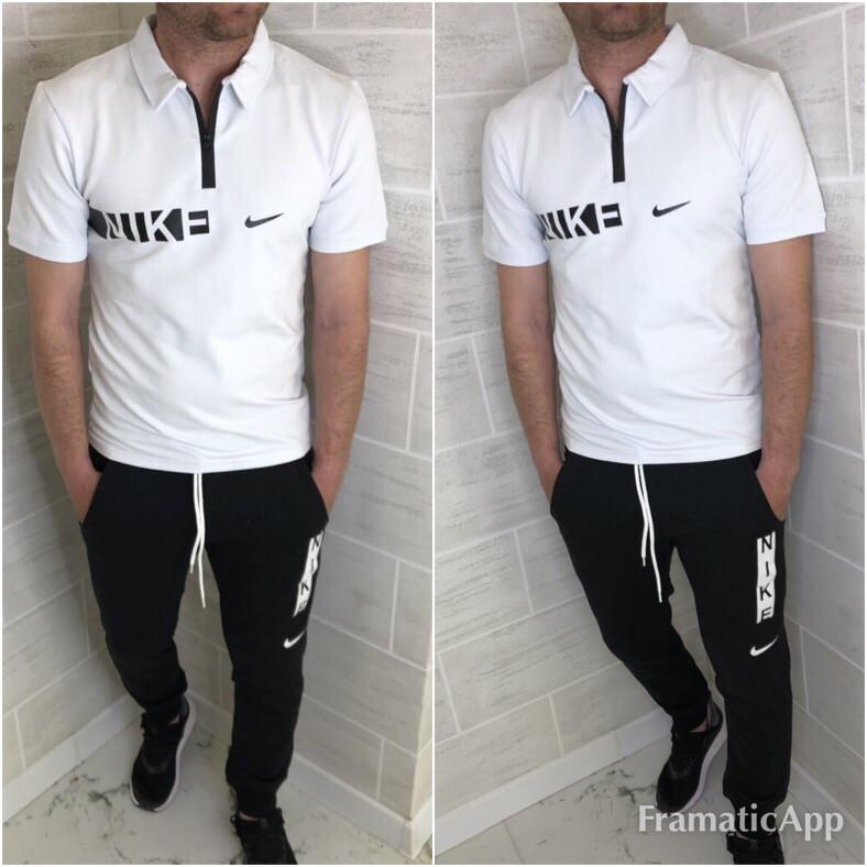Мужской летний спортивный костюм: штаны и футболка поло, реплика Найк