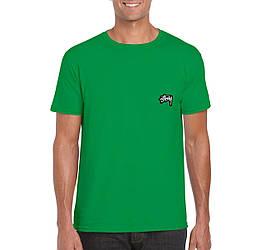 Мужская футболка Stussy, мужская футболка Стуси, спортивная, брендовая, хлопок, зеленая, копия