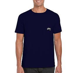 Мужская футболка Stussy, мужская футболка Стуси, спортивная, брендовая, хлопок, синяя, копия