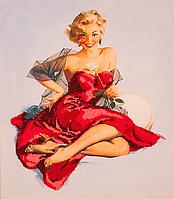 Набор для вышивания бисером FLF-024Девушка в красном30*35 Волшебная страна качественный , фото 1