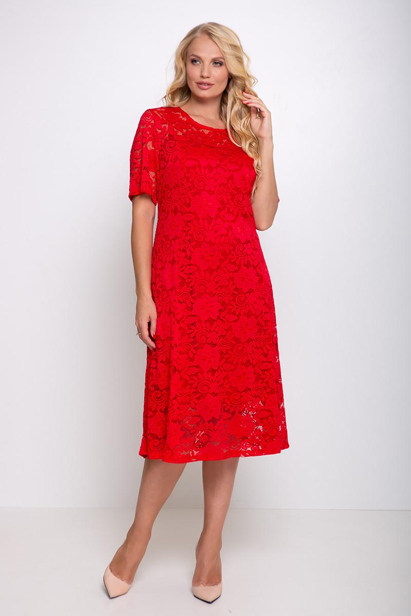 Нарядное большое платье красное гипюровое Ивона