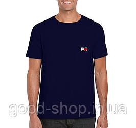 Мужская футболка Tommy x KITH, мужская футболка Томи Хилфигер, спортивная, брендовая, хлопок, синяя, копия