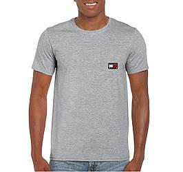 Мужская футболка Tommy x KITH, мужская футболка Томи Хилфигер, спортивная, брендовая, хлопок, серая, копия