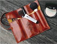 Пенал для ручек и карандашей Косметичка для кисточек Органайзер Ретро чехол коричневый