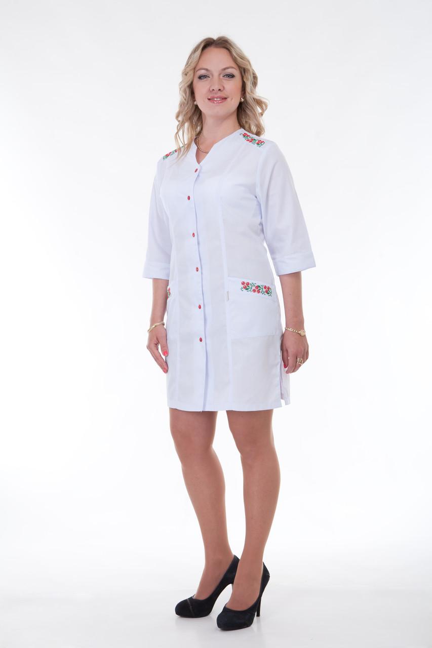 Жіночий медичний халат білий 40-56