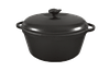 Кастрюля  чугунная эмалированная с чугунной крышкой. Матово-чёрная. Объем 2,0 литра, 200х100 мм
