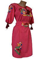 Платье женское вышитое Лен Вышиванка с поясом р.48 - 60