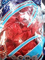 Шар воздушный красный с сердцами 30см 19-10 (100шт)