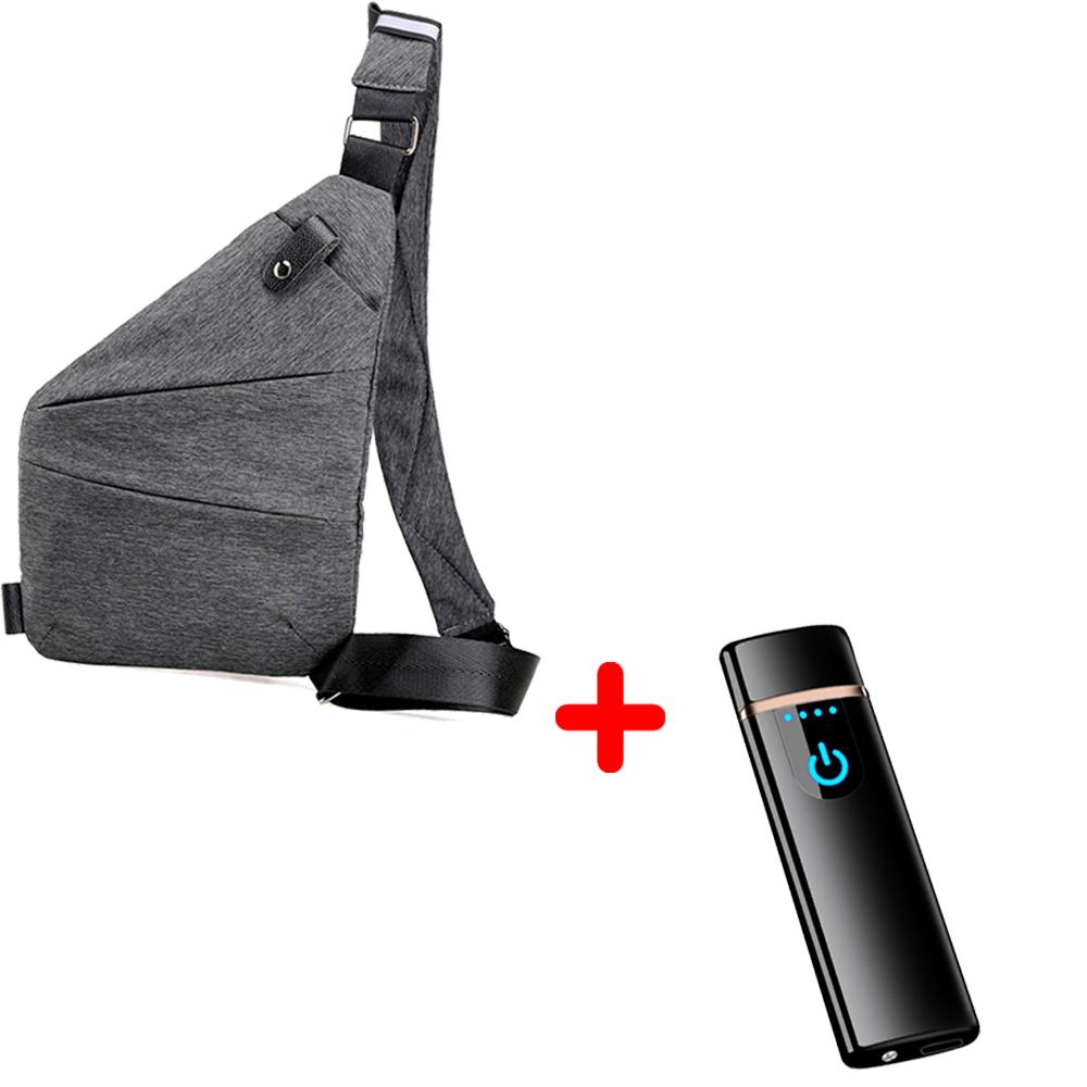 Сумка-мессенджер VOLRO Cross Body Grey + USB зажигалка SUNROZ TH-752 Black (vol-137)