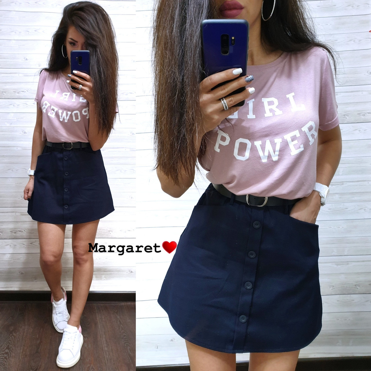 Костюм юбка с карманами+футболка, размеры S. M