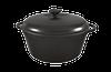 Кастрюля  чугунная эмалированная, матово-чёрная, с чугунной крышкой. Объем 3,0 литра.