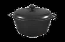 Кастрюля  чугунная эмалированная, матово-чёрная, с чугунной крышкой. Объем 3,0 литра, 230х100 мм