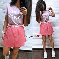 Костюм юбка с карманами+футболка, размеры S. M, фото 3