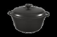 Кастрюля  чугунная эмалированная, матово-чёрная с чугунной крышкой. Объем 4,0 литра.