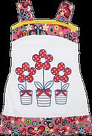Детский летний сарафан на широких бретельках с принтом, хлопок (кулир), ТМ Ромашка,р.92, 98, 104, 110, Украина