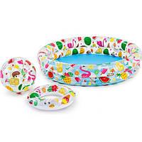 Детский надувной бассейн 3 в 1 Intex Бассейн 59460 с кругом и мячом