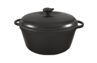 Кастрюля  чугунная эмалированная с чугунной крышкой. Матово-чёрная. Объем 8,0 литров, 300х140 мм