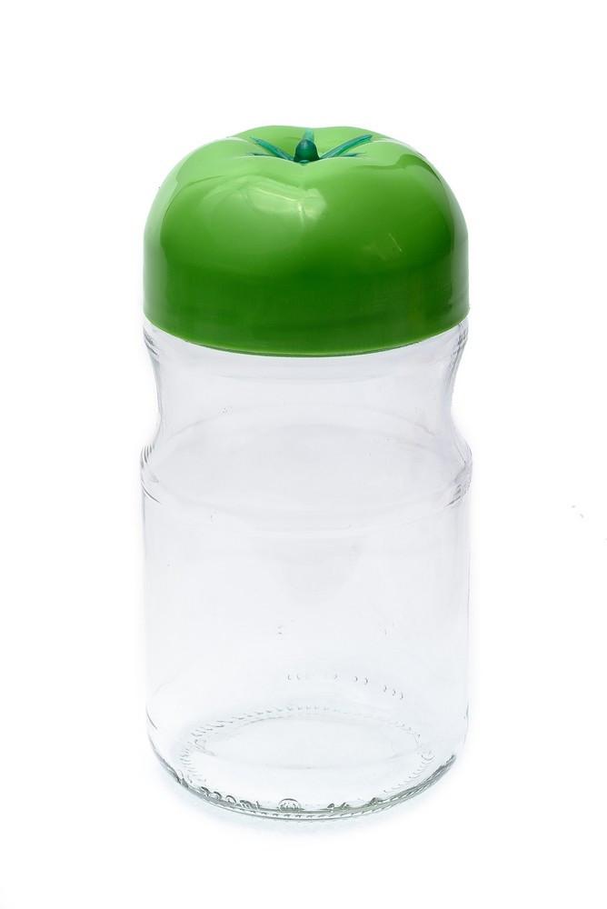 """Банка барель стеклянная 720 мл для сыпучих Everglass """"Помидор"""" с зеленой пластиковой крышкой"""