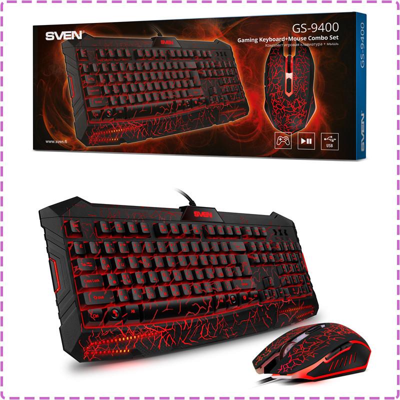 Игровой комплект Sven GS-9400 с подсветкой Black, USB, игровая клавиатура + мышь