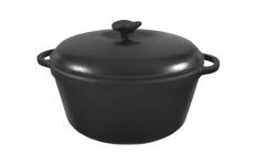 Кастрюля  чугунная эмалированная с чугунной крышкой. Матово-чёрная. Объем 10,0 литров, 340х150 мм